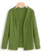 Snap Button Long Sleeve Solid Color Knit Sweater