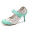 Women Flowers Pattern Hollow Out Mary Jane Pumps - Green