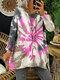 Casual Tie-dye Printed O-neck Long Sleeve Sweatshirt - Pink