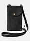 Women PU Leather Anti-theft Card-holder 6.5 Inch Phone Bag Crossbody Bag - Black