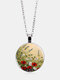 Vintage Glass Printed Women Necklace Dog's Tail Grass Floral Pendant Necklace Jewelry Gift - Silver