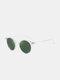 Unisex Transparent Full Frame Polarized UV Protection Coated Sunglasses - Transparent frame/Green