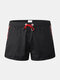 Solid Color Waterproof Quick Dry Drawstring Sports Beach Board Shorts With Pocket - Black