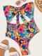 Women Floral Print Cut Out Knotted One Piece Swimwear - Blue
