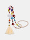 Bohemian Colorful Turquoise Wooden Beaded Long Necklace Skull Butterfly Cross Tassel Sweater Chain - #01