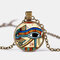 Eye Of Horus Gem Pendant Necklace Adjustable Metal Chain Round Glass Women Necklace Jewelry Gifts - Bronze