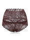 High Waisted Lace Cotton Crotch Tummy Shaping Butt Lifter Panty - Coffee