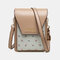 Women Floral Patchwork 6.3 Inch Phone Crossbody Bag - Apricot