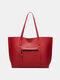 महिला ठोस बड़ी क्षमता हैंडबैग ढोना - लाल