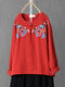 Plants Embroidery Frog Long Sleeve O-neck Vintage Blouse - Red
