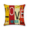 Vintage Mediterranean Hand-Painted Letters Cushion Cover Linen Throw Pillow Car Home Decoration Decorative Pillowcase - #3