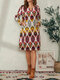 Bohemian Ethnic Print Pocket Long Sleeve Casual Dress for Women - Red