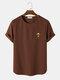 メンズマッシュルーム刺繡テクスチャ半袖ニットカジュアルTシャツ - 褐色