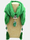 Bohemian Drop Shape Gem Pendant Scarf Necklace Women Tassel Multi-layer Necklace - #03