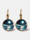Trendy Metal Round Natural Landscape Print Glass Pendant Earrings - Gold