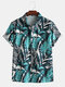 Mens Tropical Plant Printed Short Sleeve Relaxed Shirt - Blue