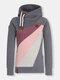 女性のためのコントラストカラー長袖巾着パッチワークパーカー - グレー