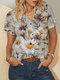 Calico Print Short Sleeve Plus Size Casual Shirt for Women - Grey