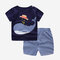 Boy's Dolphin Striped Print Short Sleeves Pajama Casual Clothing Set For 1-5Y - Navy Blue