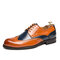 Men Brogue Color Blocking Oxfords Stylish Party Formal Shoes - Brown