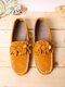 Large Size Women Flower Decor Loafers Solid Color Slip-on Low Top Flat Shoes - Brown