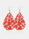 Vintage Drop-Shape Hollow Valentine's Day Heart PU Leather Earrings - #01