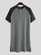Patchwork Cozy Length Top Design Robes Breathable O Neck Short Sleeve Sleepwear for Men - Grey