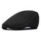 Men Thickening Adjustable Cotton Solid Warm Breathable Vintage Wool Knitting Beret Cap - Black