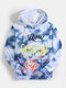 Mens Tie Dye Graffiti Print Loose Kangaroo Pocket Drawstring Hoodies - Gray
