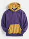 Mens Contrast Patchwork Casual Relaxed Fit Kangaroo Pocket Drawstring Hoodies - Purple