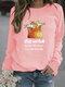 Cartoon Cat Printed Casual Long Sleeve T-Shirt For Women - Pink