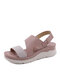 Women Daily Stitching Slingback Hook Loop Wedges Sandals - Pink