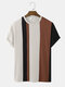 Mens Knitted Contrasting Color Stitching Short Sleeve T-Shirt - Coffee