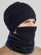 Men 2PCS Embroidered Plus Velvet Thick Winter Outdoor Neck Protection Headgear Scarf Knitted Hat Beanie - Navy