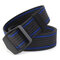 Mens Long Weave Canvas Elasticity Belt Outdoor Slider Buckle Durable Adjustable Ring Belt - Blue