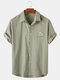 Mens Solid Color Small Rainbow Print Light Casual Short Sleeve Shirts - Green
