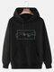 Mens 100% Cotton Helping Hand Graphic Print Drop Sleeve Drawstring Hoodies - Black