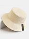 Cappello da pescatore unisex a doppia faccia in cotone a tesa larga con stampa tinta unita - Beige