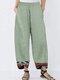 Casual Print Hem Patchwork Plus Size Pants with Pockets - Green
