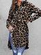 Leopard Print Split Hem Long Sleeve Sexy Plus Size Shirt - Khaki