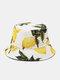 Unisex Cotton Lemon Leaf Pattern Printed Double-sided Wearable Fashion Bucket Hat - White