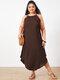 Summer Solid Color Spaghetti Straps Plus Size Maxi Dress - Brown