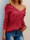 Solid Color Patchwork Long Sleeves V-neck Pullover Sweater For Women - Red