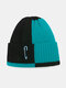 Unisex Knitted Color Contrast Patchwork Paperclip Decoration Fashion Warmth Beanie Hat - Blue+Black