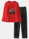 Women Cartoon Animal Letter Embroidery O-Neck Double Flannel Warm Comfy Pajamas Set - Red