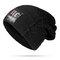Mens Winter Plus Velvet Warm Knitted Hat Casual NC Letter Solid Skullies Beanie Hat - Black
