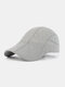 Men Polyester Solid Color Mesh Breathable Outdoor Sunshade Berets Flat Caps - Light Gray