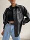 女性のための無地の長袖ラペルカラーファージャケット - 黒