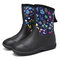 SOCOFY Natural Rubber Floral Waterproof Non-slip Pull-on Flat Rain Boots Garden Working Shoes - Black