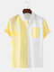 Mens Striped Patchwork Chest Pocket Short Sleeve Shirt - Yellow